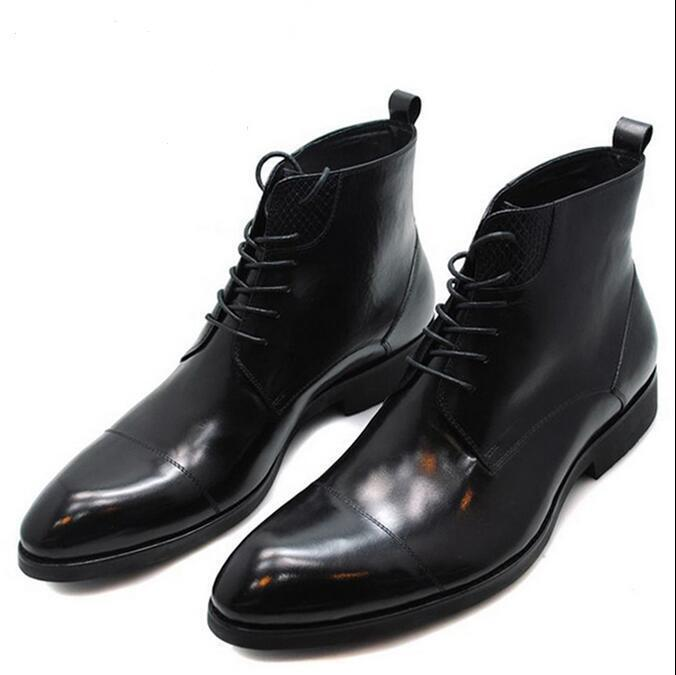 2018 Chic Uomo Poined Toe Lace Up Dress Formal Formal Formal Ankle Stivali Punk Business Scarpe eb772e