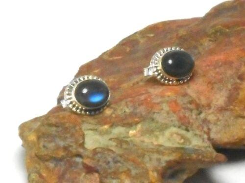 Oval  LABRADORITE   Sterling  Silver  925  Gemstone  STUD Earrings 8 x 10 mm
