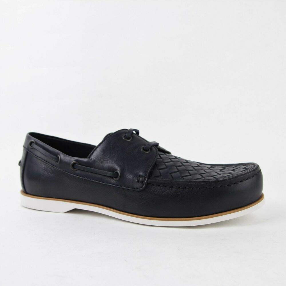 $700 Bottega Veneta Tressée Bleu Foncé Chaussures Mocassins Cuir 39 368714 4030