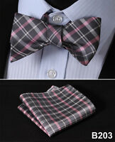 Check Solid Men Woven Silk Self Bow Tie Pocket Square Set #B2