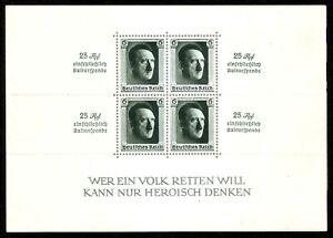 DR-NAZI-3d-Reich-Rare-WWII-Stamp-Hitler-Fuhrer-Block-9-Hitler-Head-Birthday-9
