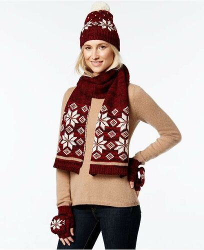 Gift Set Hat Scarf Gloves Tomato red One Size Charter Club women/'s Nordic 3-Pc