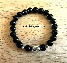 Ónice Negro Grano de piedras preciosas naturales 8 mm Pulsera Curación Chakra Yoga Elástico