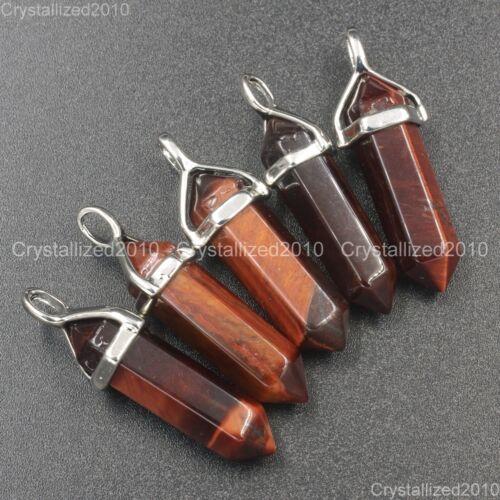 Natural Gemstone Red Tiger/'s Eye Hexagonal Pointed Healing Pendant Charm Beads