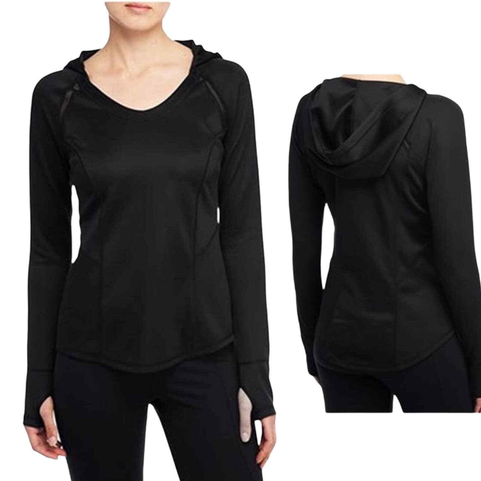 NYDJ City Sport Black Pullover Hoodie L
