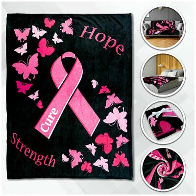 Pink Ribbon 50x60in Throw Blanket Super Soft Plush Fleece Breast Cancer Survivor