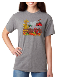 USA-Made-Bayside-T-shirt-Country-Fall-Autumn-Farm-pumpkins-antique-tractor