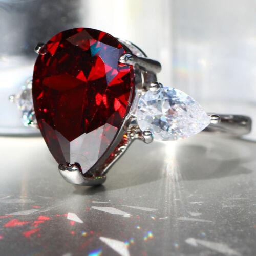Fashion Red Ruby Pierre de Naissance Argent 925 Rempli Mariage Bridal Loving Ring Cadeau