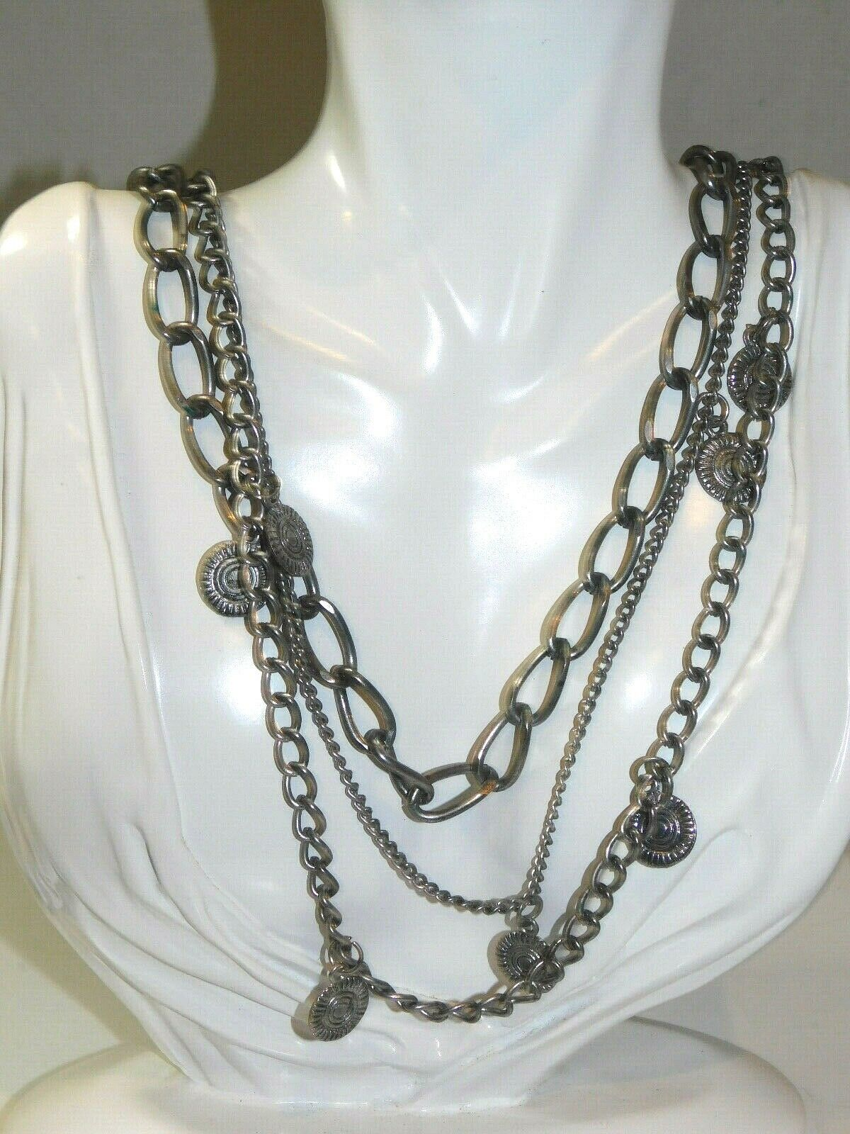 Big link chain locket charm triple strand silver tone necklace 3 t 1a 12