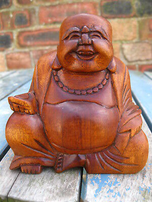 WOODEN HAPPY BUDDHA FIGURE Ornament 15 cm CHINESE LAUGHING Sitting HAND CARVED