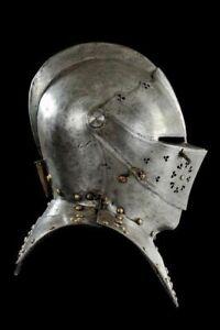 Medieval-Knight-Tournament-Close-Armor-Helmet-Replica-18Ga-Sca-Larp-Great-Helm