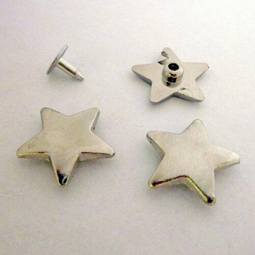 antiguo negro 10 estrella remaches decorativos masivamente estrellas Stars 19mm plata oro