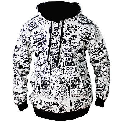 Mens Bazinga Big Bang Theory Slogans White Print Zip Up Hoodie NEW S-XL