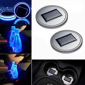 2PC LED Solar Cup Pad Car Accessories Light Cover Interior Decoration Lights