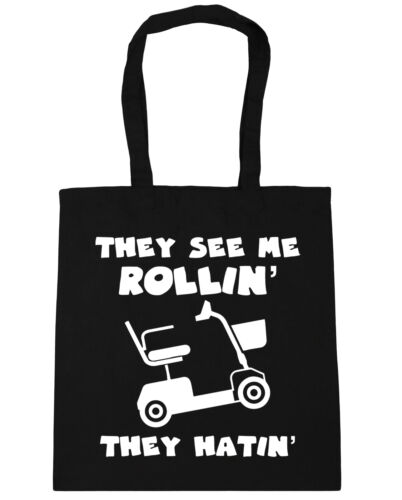 They see me rollin/' they hatin/' mobility scooter Tote Shopping Gym Beach Bag 42c