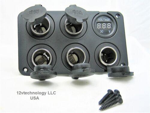 Five Heavy Duty 20A 12V  High Power Voltmeter Socket Plug Outlet Panel RV Fuse