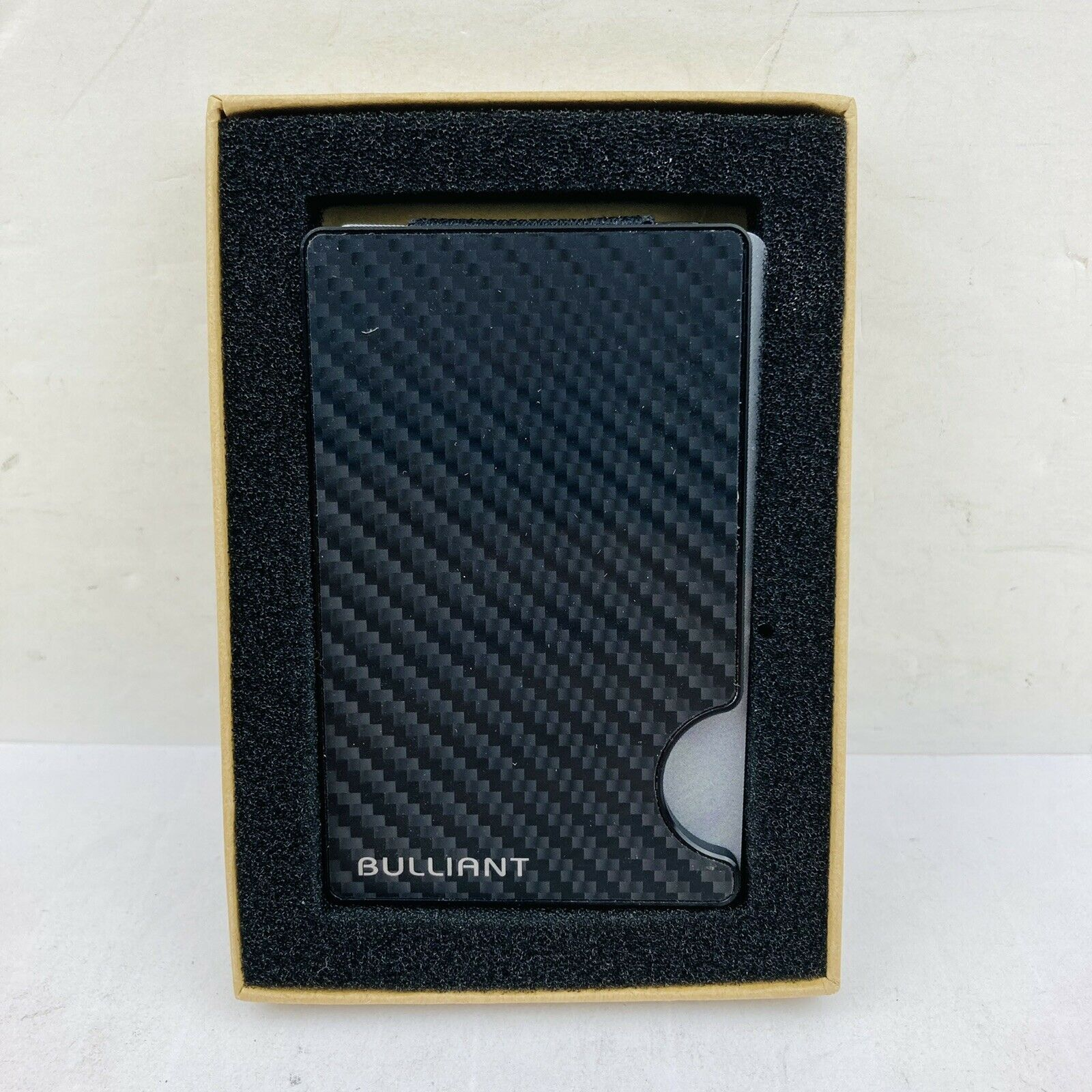 Bulliant Money / Credit Card Clip Carbon Fiber Wallet New In Box