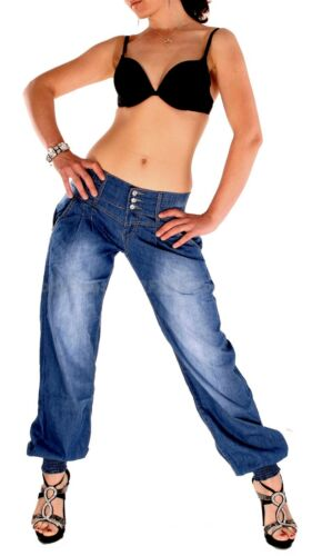 Donna Jeans Boyfriend Chino Pantaloni Lunghi Cavallo Basso Harem Pantaloni Pump Pantaloni Harem Pantaloni pluderhose 164