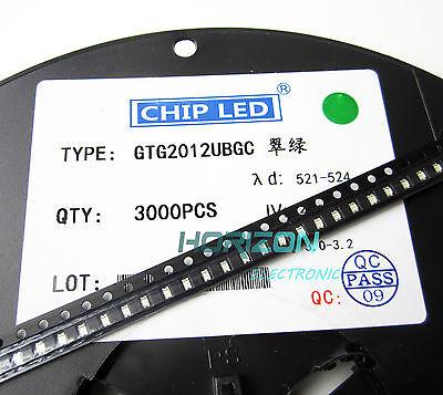 100pcs green super bright smd led 0805 2mm×1.2mm