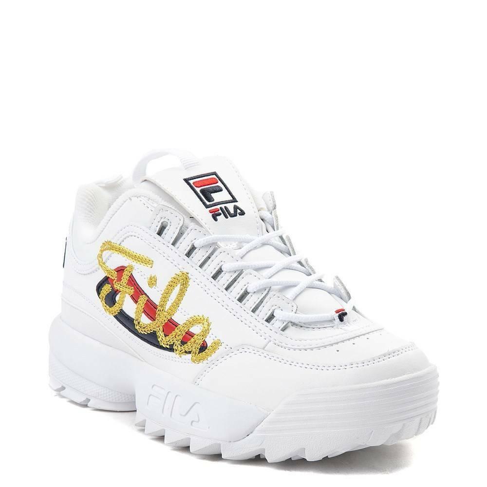 Débardeur Fila Fila Fila Disruptor II Premium Script Athletic chaussures or blanc nouveau Pré-vente 882940