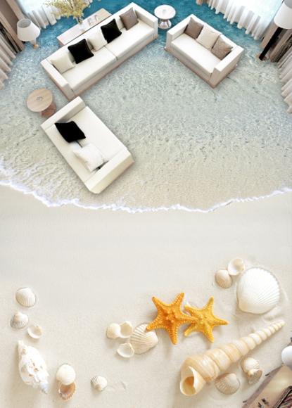 3D starfishs Beach 64 Floor carta da Parati Murali da Muro Stampa 5D AJ Carta da Murali parati UK Limone d495a9