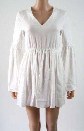 Missguided Frill Sleeve Waisted Skater Dress UK 8