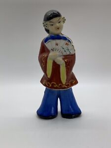 Vintage-Hand-painted-7-Figurine-China-Doll-With-Flowers-In-Hair-Holding-A-Fan