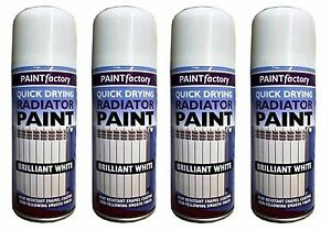 Details About 4x 200ml Heat Resistant Enamel Coating Radiator Paint White Gloss Smooth Finish