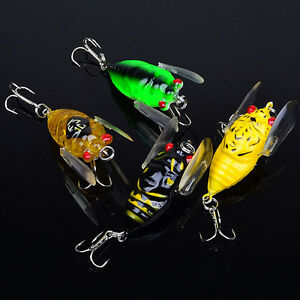 Lot-4pcs-Plastic-Popper-Fishing-Lures-Bass-CrankBaits-Cicada-Tackle-4cm-6-4g