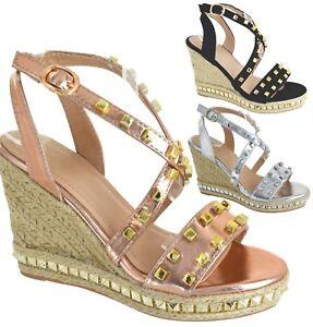 Sur Titre Le Femme Esperdrilles D'origine Sandales Afficher Détails Clous Compensé Chaussures Haut Plateforme Taille Cloutées USVzpqM