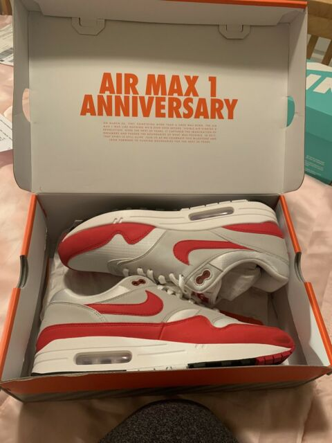 Nike Air Max 1 Anniversary OG 2017 Retro Red White Grey Size 11