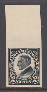 US-Sc-611-MNH-1923-2c-black-imperf-Harding-Memorial-issue-with-sheet-margin-XF