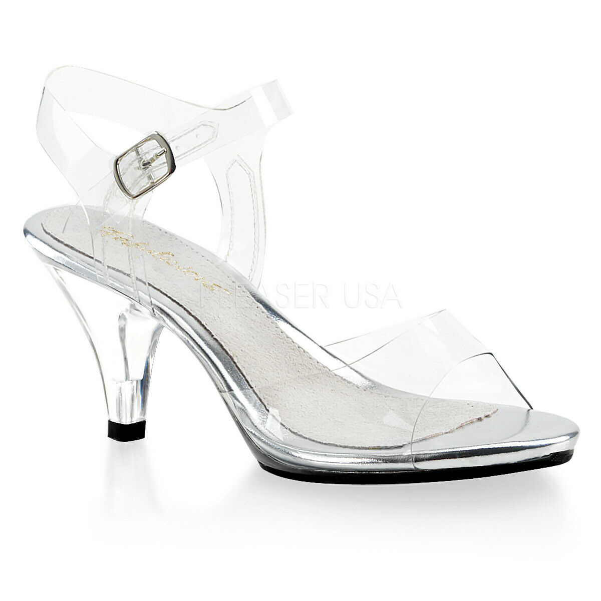 Fabulicious By Pleaser Belle-308 Clear Mini Platform Ankle Strap Slide schuhe