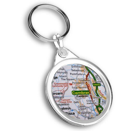 Cwmbran Wales Welsh Travel Map  #44824 Keyring Circle