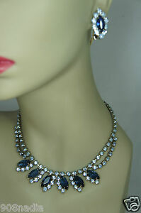 VINTAGE-SILVER-TONE-FACETED-BLUE-RHINESTONES-VICTORIAN-NECKLACE-EARRINGS-SET