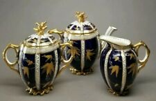 Antique Aynsley c1883 Cobalt Gold Bachelor's Teapot Creamer Sugar Bowl Set RARE