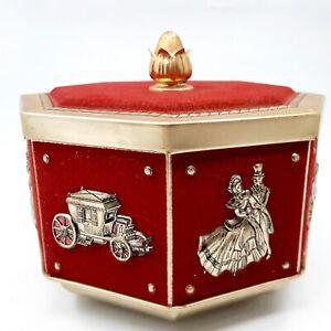 Vintage Cinderella Princess, Prince & Carriage Octagon Metal Tin w/ Red Velvet