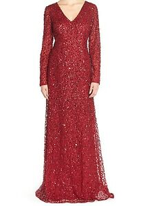 b27ede06c4b64 NWT$345 Adrianna Papell Long Sleeve V-neck Beaded Evening Gown ...
