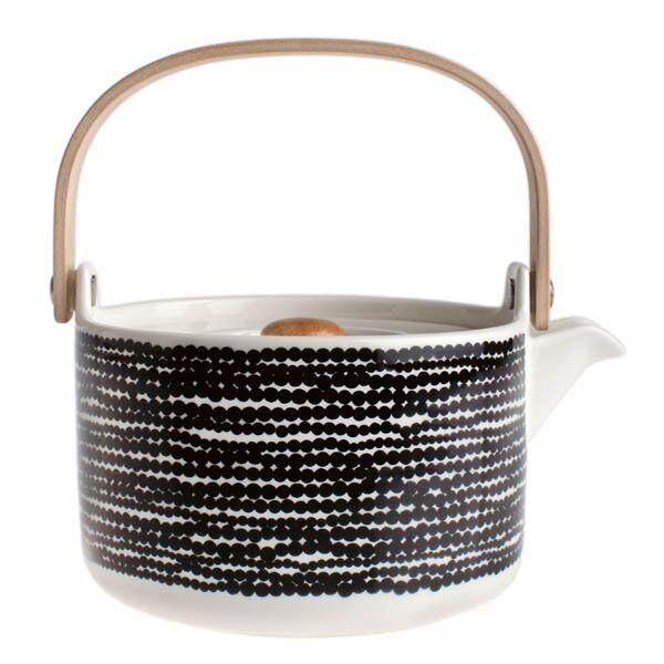 Marimekko Teekanne Oiva-Räsymatto Schwarz-Weiß       Jeder beschriebene Artikel ist verfügbar