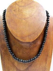 Perlenkette-Halskette-Naturschmuck-Schwarz-Holz-Surfer-Karibik-Ethno-UNISEX-NEU