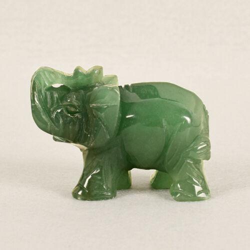 Lucky Green Quartz Carved Elephant Gemstone Stone Crystal Figurine Ornaments JD
