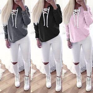 Women's Clothing Fashion Women Casual Long Sleeve Jumper Pullover Sweatshirt Tops Shirt