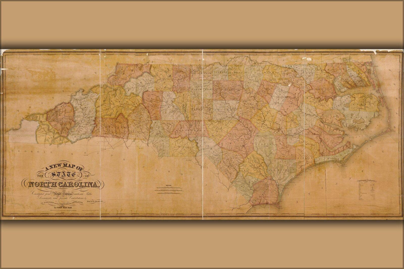 Plakat, Viele Größen; Karte von Nord Carolina 1833