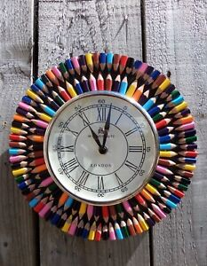 Fair-Trade-Hand-Made-Wooden-Recycled-Crayons-Pencils-Large-Art-Deco-Wall-Clock