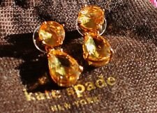 Kate Spade NY RARE PLAZA ATHENEE TOPAZ CITRINE GOLDEN DROP EARRINGS DANGLE