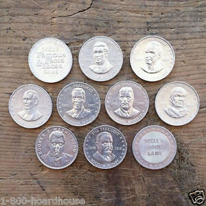 10-Vintage-Original-SHELL-OIL-CO-Coins-PRESIDENT-amp-STATE-SERIES-All-Different