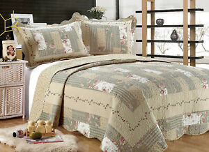 ALL-FOR-YOU-Reversible-Bedspread-Coverlet-Quilt-55-Beige-Gray-Green-prints