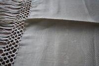 exceptionnelle serviette ancienne, damassé LIN ,N°137 ,toilette, longues franges