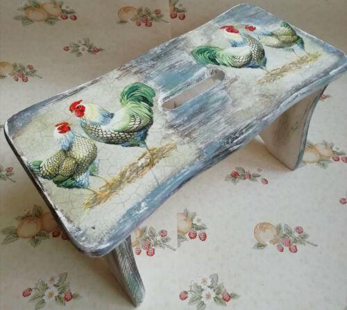 Petits bois de pin escabeau chaise en bois shabby chic main DECOUPIS Rooster
