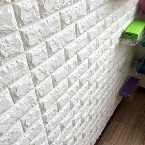 5pcs panneaux muraux de mode durable blanc auto-adhésif en brique 3D pour la